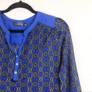 The Limited Black & Blue Patterned Sheer Blouse